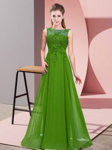 Low Price Sleeveless Floor Length Beading and Appliques Zipper Damas Dress with Green