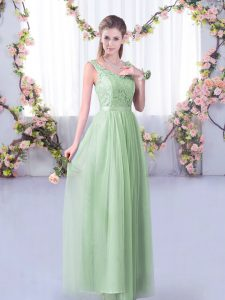Luxury Apple Green Sleeveless Lace and Belt Floor Length Quinceanera Court Dresses