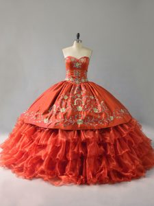 Affordable Sleeveless Lace Up Floor Length Embroidery and Ruffles Sweet 16 Dress