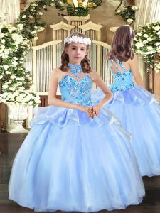 Cute Ball Gowns Pageant Gowns For Girls Blue Strapless Organza Sleeveless Floor Length Lace Up
