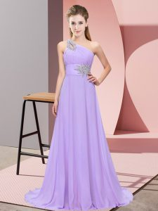 Vintage Lavender Sleeveless Beading Floor Length Prom Gown