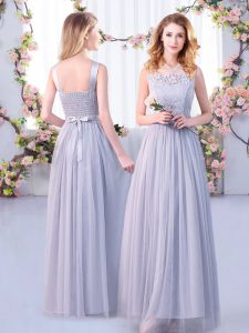 Scoop Sleeveless Tulle Dama Dress for Quinceanera Lace and Belt Side Zipper