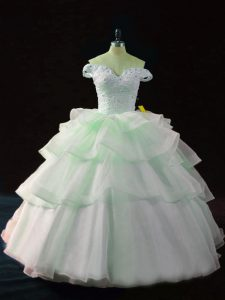 Exceptional Brush Train Ball Gowns Quince Ball Gowns Apple Green Off The Shoulder Organza Sleeveless Lace Up