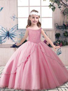 Custom Made Floor Length Rose Pink Kids Formal Wear Off The Shoulder Sleeveless Lace Up