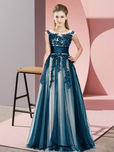 Nice Navy Blue Sleeveless Floor Length Beading and Lace Zipper Quinceanera Court Dresses