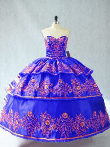 Custom Design Sweetheart Sleeveless Quinceanera Gown Embroidery and Ruffles Lace Up