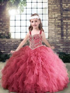 Pink Sleeveless Beading and Ruffles Floor Length Little Girl Pageant Gowns