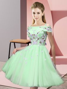 Custom Fit Short Sleeves Appliques Lace Up Dama Dress for Quinceanera