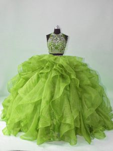 Green Organza Backless Sweet 16 Dresses Sleeveless Brush Train Beading and Ruffles
