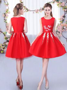 Classical Red Satin and Tulle Zipper Dama Dress for Quinceanera Sleeveless Knee Length Appliques