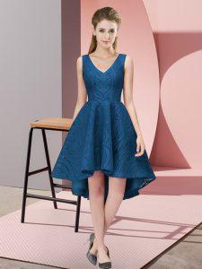 On Sale Navy Blue Dama Dress Wedding Party with Lace V-neck Sleeveless Zipper