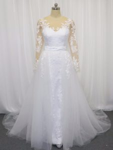 Adorable White Bridal Gown Tulle Court Train Long Sleeves Lace and Belt