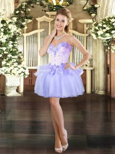 Excellent Lavender Ball Gowns Sweetheart Sleeveless Organza Mini Length Lace Up Beading Prom Evening Gown
