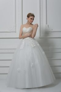 White Ball Gowns Tulle Sweetheart Sleeveless Beading and Appliques Floor Length Lace Up Wedding Dress