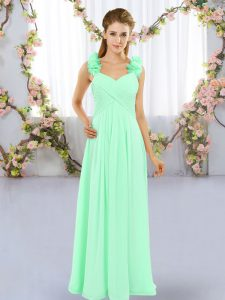 Fashionable Apple Green Chiffon Lace Up Bridesmaid Gown Sleeveless Floor Length Hand Made Flower