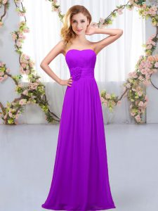 Spectacular Sleeveless Chiffon Floor Length Lace Up Bridesmaid Dress in Purple with Hand Made Flower