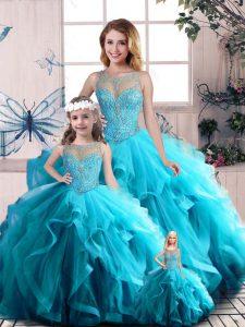 Scoop Sleeveless 15th Birthday Dress Floor Length Beading and Ruffles Aqua Blue Tulle