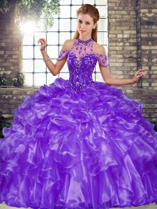 Dramatic Floor Length Lace Up Quinceanera Dresses Purple for Military Ball and Sweet 16 and Quinceanera with Beading and