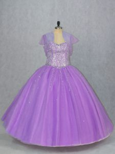 Captivating Lavender Tulle Lace Up 15 Quinceanera Dress Sleeveless Floor Length Beading