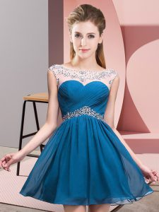 Latest Scoop Sleeveless Dress for Prom Mini Length Beading Blue Chiffon