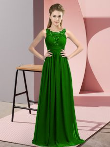 Admirable Chiffon Scoop Sleeveless Zipper Beading and Appliques Bridesmaid Dress in Dark Green