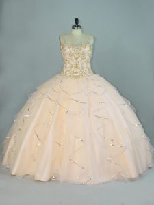 Pretty Champagne Tulle Lace Up Sweet 16 Dress Sleeveless Floor Length Beading and Ruffles