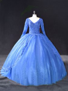 Blue Ball Gowns Tulle V-neck Long Sleeves Lace and Appliques Floor Length Lace Up Quince Ball Gowns