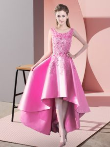 Custom Design Sleeveless Satin High Low Zipper Dama Dress for Quinceanera in Rose Pink with Lace