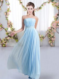 Baby Blue Lace Up Dama Dress for Quinceanera Beading Sleeveless Sweep Train