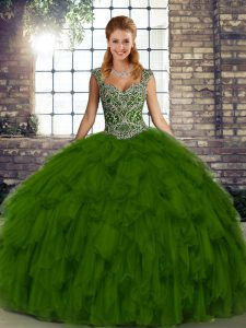 Straps Sleeveless Quinceanera Gown Floor Length Beading and Ruffles Olive Green Organza