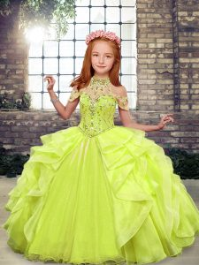 Trendy Floor Length Yellow Green Girls Pageant Dresses Organza Sleeveless Beading