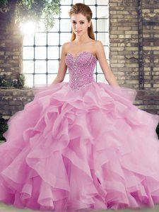 Lilac Tulle Lace Up Sweetheart Sleeveless Sweet 16 Dresses Brush Train Beading and Ruffles