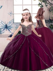 Burgundy Tulle Lace Up Straps Sleeveless Floor Length Little Girls Pageant Dress Wholesale Beading