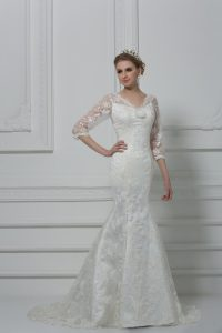 Sumptuous White Lace Lace Up V-neck 3 4 Length Sleeve Bridal Gown Brush Train Lace and Hand Made Flower