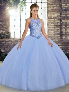 Custom Designed Lavender Sleeveless Floor Length Embroidery Lace Up Sweet 16 Quinceanera Dress