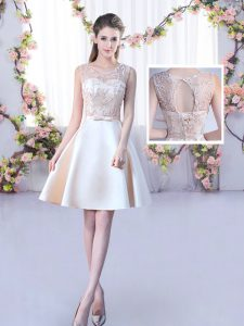 Super Champagne Scoop Neckline Lace and Belt Dama Dress for Quinceanera Sleeveless Lace Up