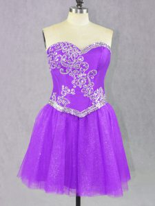 Lilac Sleeveless Mini Length Beading Lace Up Prom Evening Gown