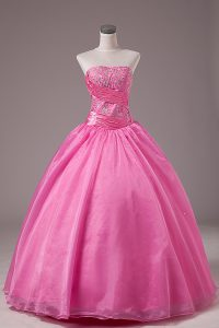 Customized Rose Pink Sleeveless Organza Lace Up Quinceanera Dress for Sweet 16 and Quinceanera
