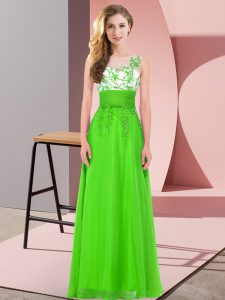 Vintage Scoop Neckline Appliques Bridesmaid Gown Sleeveless Backless