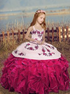 Beautiful Hot Pink Sleeveless Embroidery and Ruffles Floor Length Little Girls Pageant Dress Wholesale