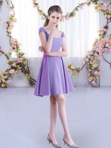 A-line Quinceanera Court of Honor Dress Lavender Straps Chiffon Cap Sleeves Mini Length Zipper