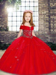 Exquisite Red Sleeveless Beading Floor Length Kids Formal Wear