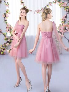 Pink A-line Tulle One Shoulder Sleeveless Appliques and Belt Mini Length Lace Up Quinceanera Court of Honor Dress
