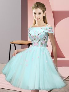 Perfect Aqua Blue Tulle Lace Up Off The Shoulder Short Sleeves Knee Length Quinceanera Court Dresses Appliques