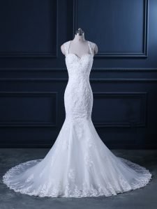 Fabulous White Backless Straps Beading and Lace Bridal Gown Tulle Sleeveless Brush Train