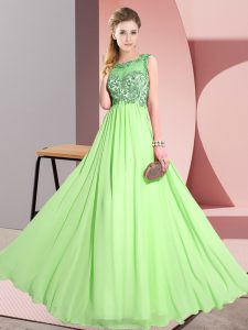 Chiffon Backless Bridesmaids Dress Sleeveless Floor Length Beading and Appliques