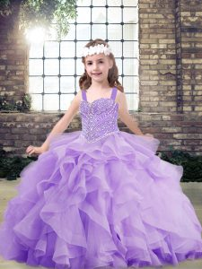 High End Ball Gowns Pageant Gowns For Girls Lavender Straps Organza Sleeveless Floor Length Lace Up