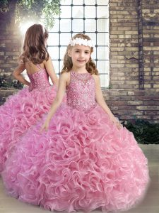 Pink Scoop Lace Up Beading Girls Pageant Dresses Sleeveless