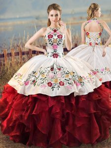 Shining White And Red Sleeveless Floor Length Embroidery and Ruffles Lace Up Quinceanera Gown