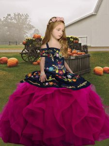 Most Popular Fuchsia Tulle Lace Up Little Girls Pageant Dress Sleeveless Floor Length Embroidery and Ruffles